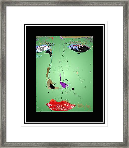Framed Print featuring the digital art Beauty Mark - Green by Larry Talley