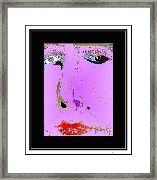 Framed Print featuring the digital art Beauty Mark - Pink by Larry Talley