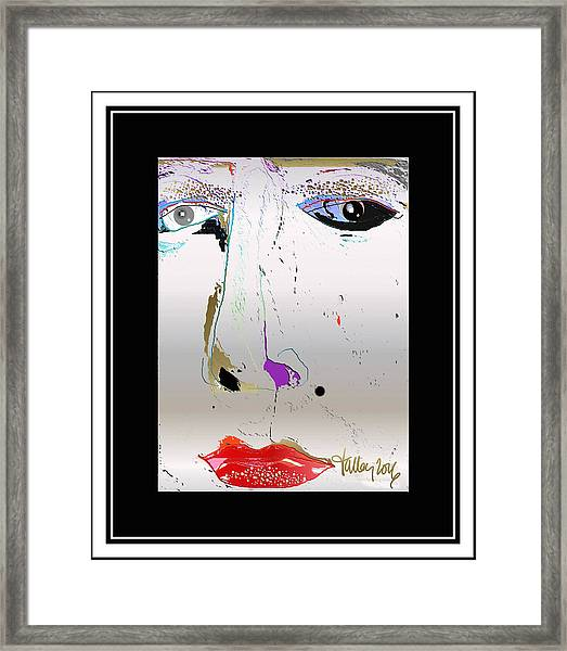 Framed Print featuring the digital art Beauty Mark - Silver by Larry Talley