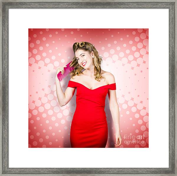 Beauty Pinup Model Straightening Rolled 50s Hair Framed Print
