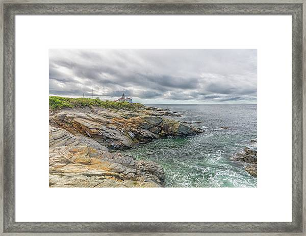Beavertail Lighthouse On Narragansett Bay Framed Print