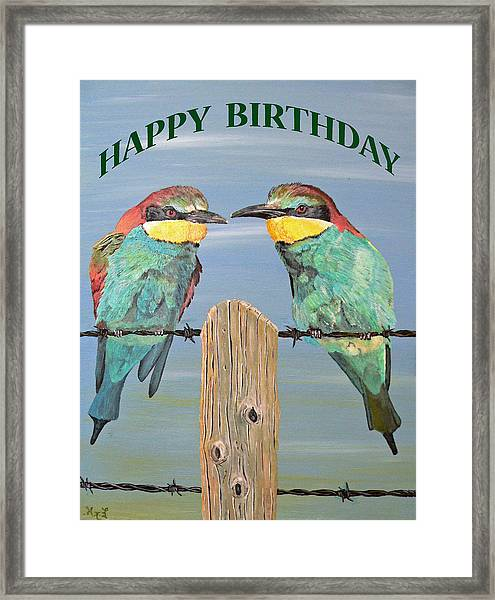 Framed Print featuring the painting Bee Eaters Happy Birthday by Eric Kempson