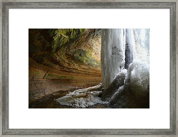 Behind The Ice Falls Framed Print