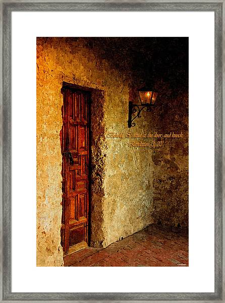 Behold I Stand At The Door And Knock Framed Print