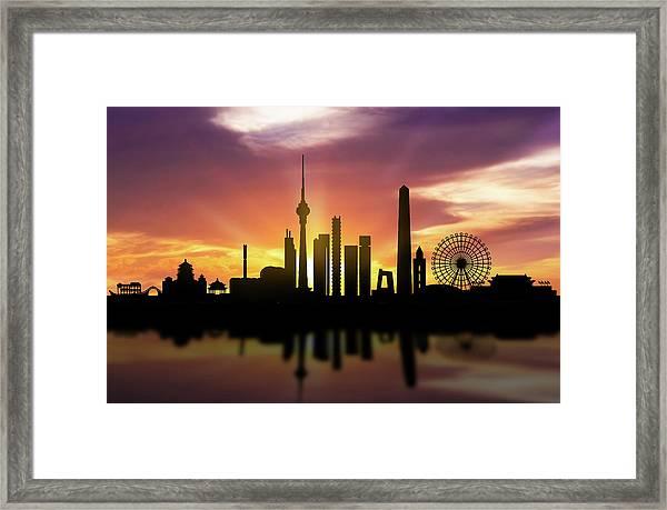 Beijing Skyline Sunset Chbj22 Framed Print