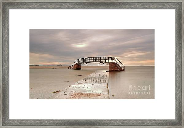 Belhaven Stairs And The Bass At Low Tide Framed Print