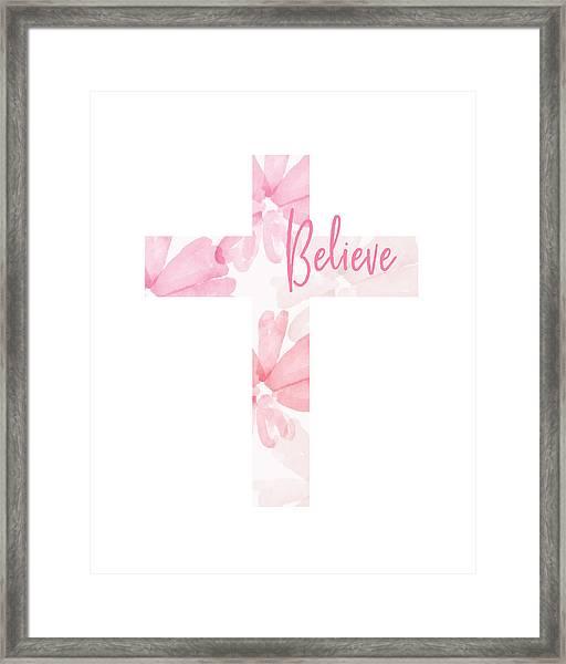 Believe Floral Cross- Art By Linda Woods Framed Print