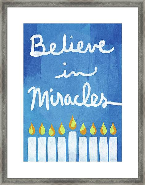 Believe In Miracles- Hanukkah Art By Linda Woods Framed Print