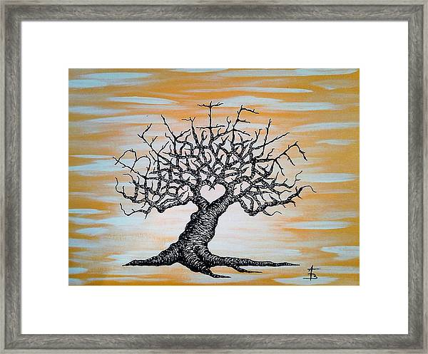 Framed Print featuring the drawing Believe Love Tree by Aaron Bombalicki