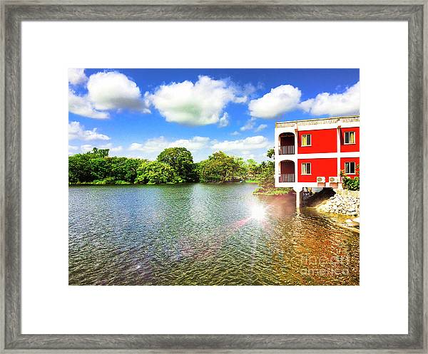 Belize River House Reflection Framed Print