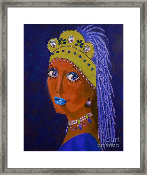 Belly Dancer With A Pearl Earring -- Blue Background Framed Print