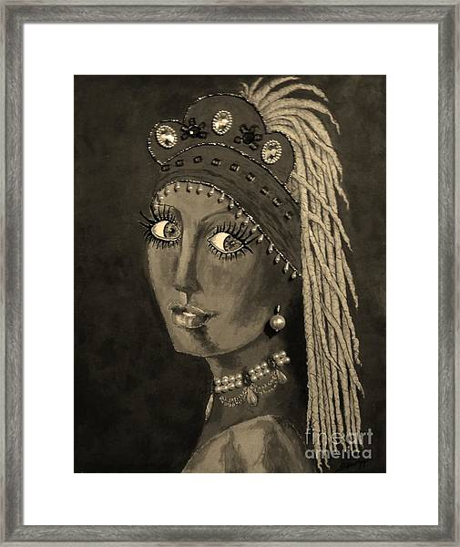 Belly Dancer With A Pearl Earring In Sepia Framed Print