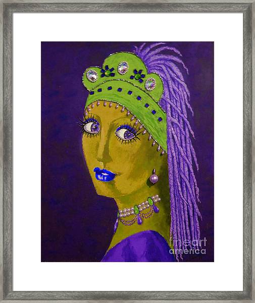 Belly Dancer With A Pearl Earring -- Purple Background Framed Print