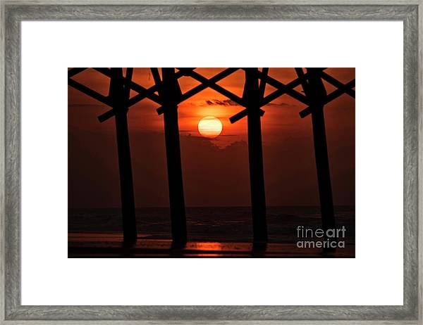 Framed Print featuring the photograph Below The Pier by DJA Images