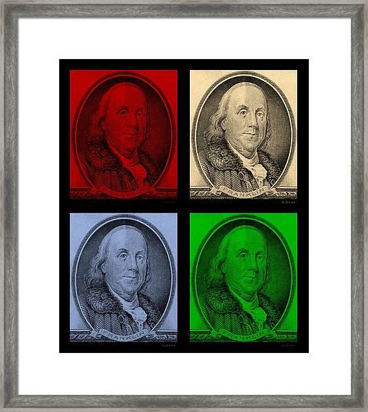 Ben Franklin In Colors Framed Print
