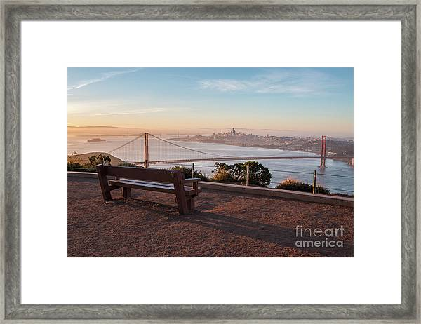 Bench Overlooking Downtown San Francisco And The Golden Gate Bri Framed Print