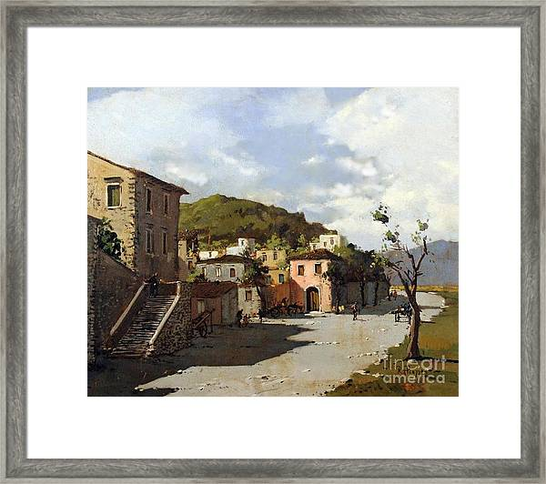 Framed Print featuring the painting Provincia Di Benevento-italy Small Town The Road Home by Rosario Piazza
