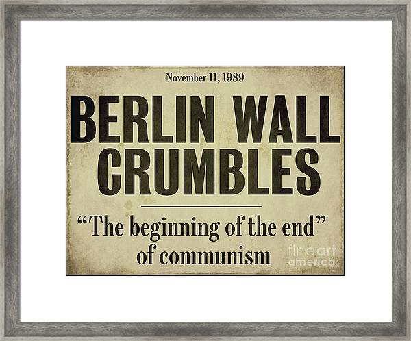 Berlin Wall Newspaper Headline Framed Print