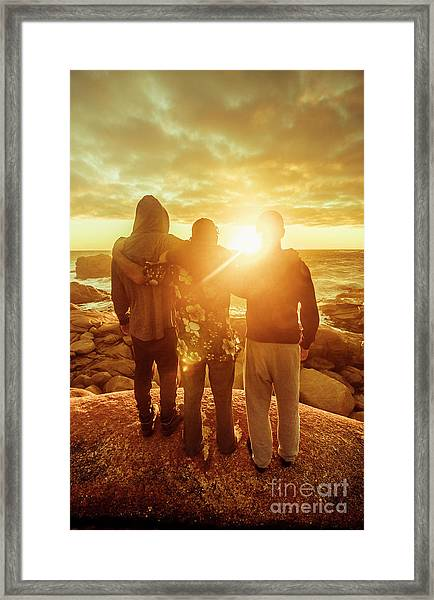 Best Friends Greeting The Sun Framed Print