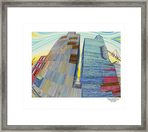 Framed Print featuring the painting Between The Elevators by Scott Kirby