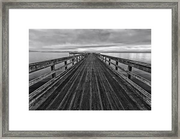 Bevan Fishing Pier - Black And White Framed Print
