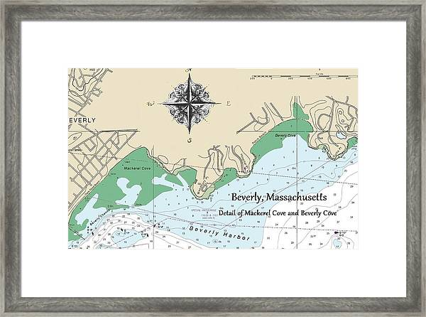 Beverly Cove Nautical Map Framed Print