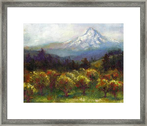 Beyond The Orchards Framed Print