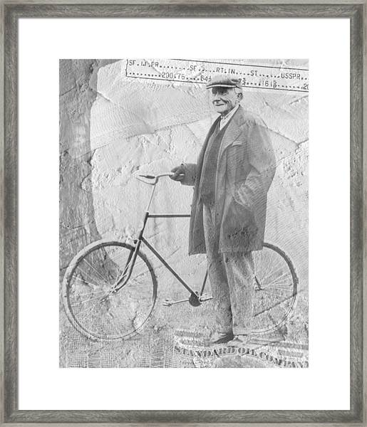 Bicycle And Jd Rockefeller Vintage Photo Art Framed Print