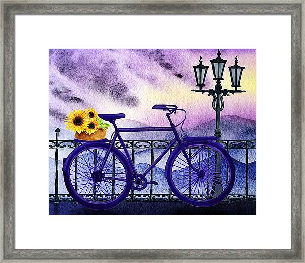 Blue Bicycle And Sunflowers By Irina Sztukowski  Framed Print