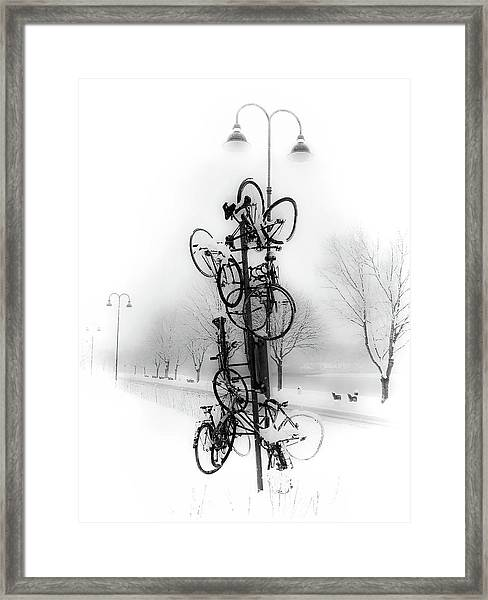 Bicycle Lamppost In Winter Framed Print