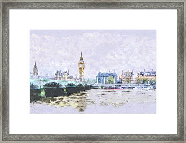 Big Ben And Westminster Bridge London England Framed Print
