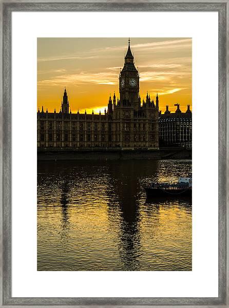 Big Ben Tower Golden Hour In London Framed Print