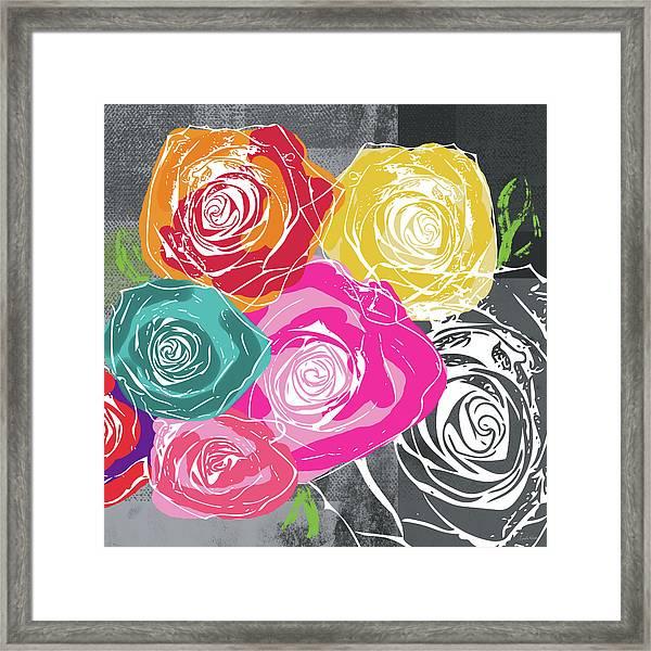 Big Colorful Roses 2- Art By Linda Woods Framed Print