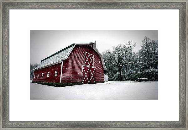 Big Red Barn In Snow Framed Print
