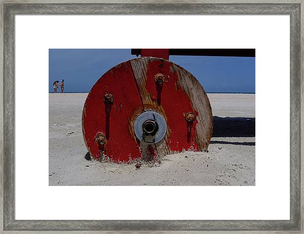 Big Red Wheel On The Beach In Daytona Florida Framed Print