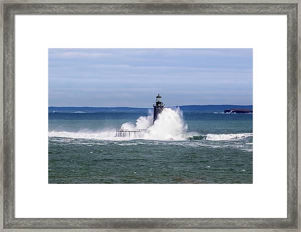 Big Wave Hits Ram Island Ledge Light Framed Print