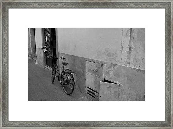 Bike In Alley Framed Print