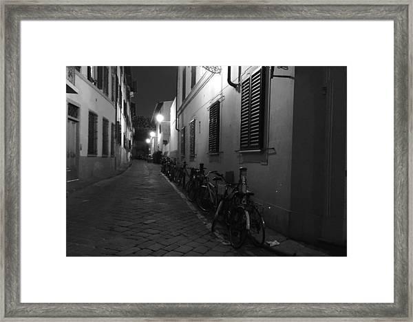 Bike Lined Alley Framed Print