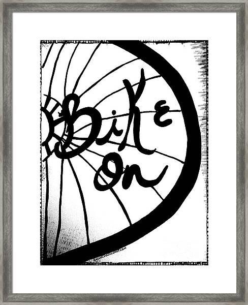 Framed Print featuring the drawing Bike On by Rachel Maynard