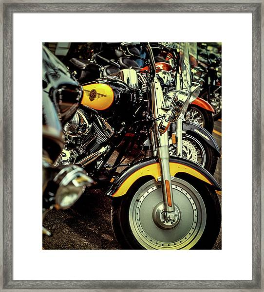Framed Print featuring the photograph Bikes In A Row by Samuel M Purvis III