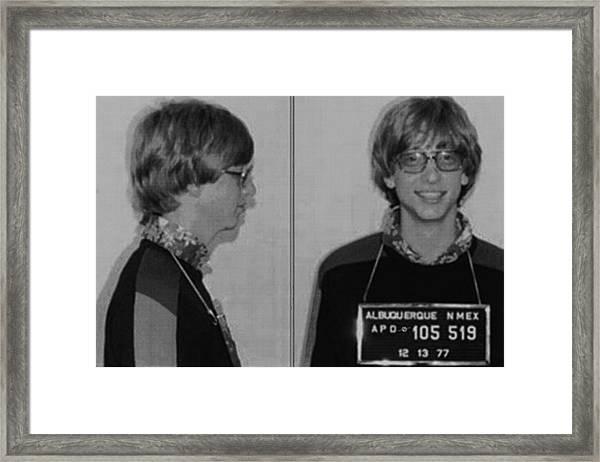 Bill Gates Mug Shot Horizontal Black And White Framed Print