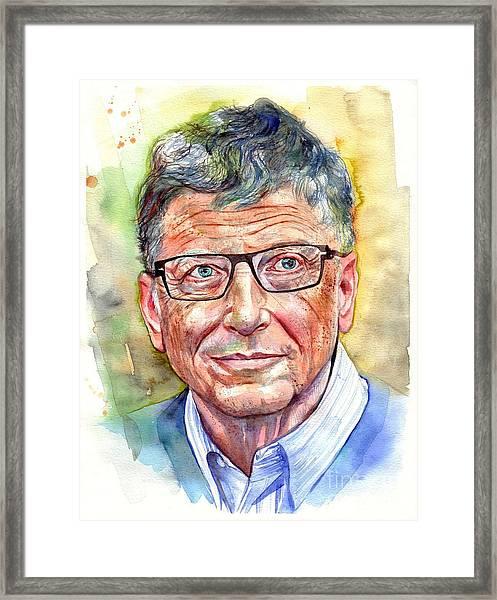 Bill Gates Portrait Framed Print
