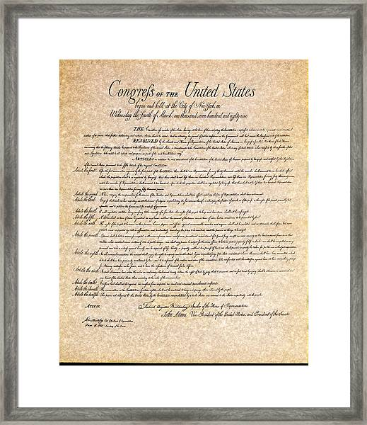 Bill Of Rights Framed Print