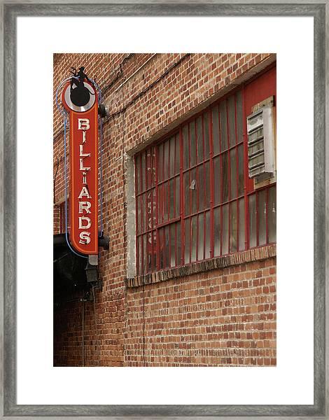 Billard To Bricks Framed Print