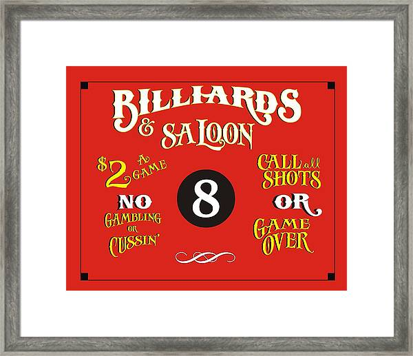 Billiards And Saloon Sign Framed Print