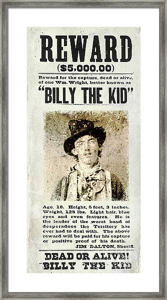 Billy The Kid Wanted Poster Framed Print
