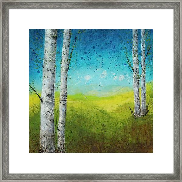 Birches In Green Framed Print