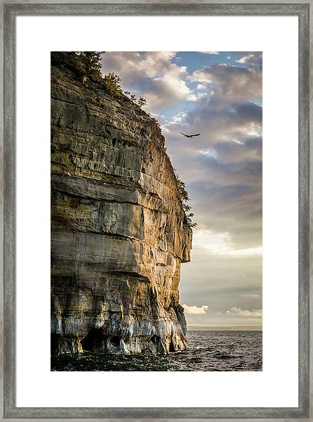 Sunset On The Pictured Rocks Framed Print