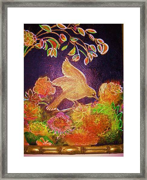 Bird On Flowers On A  Glorious Night Framed Print by Anne-Elizabeth Whiteway