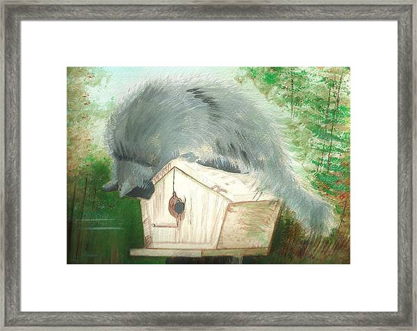 Birdie In The Hole Framed Print